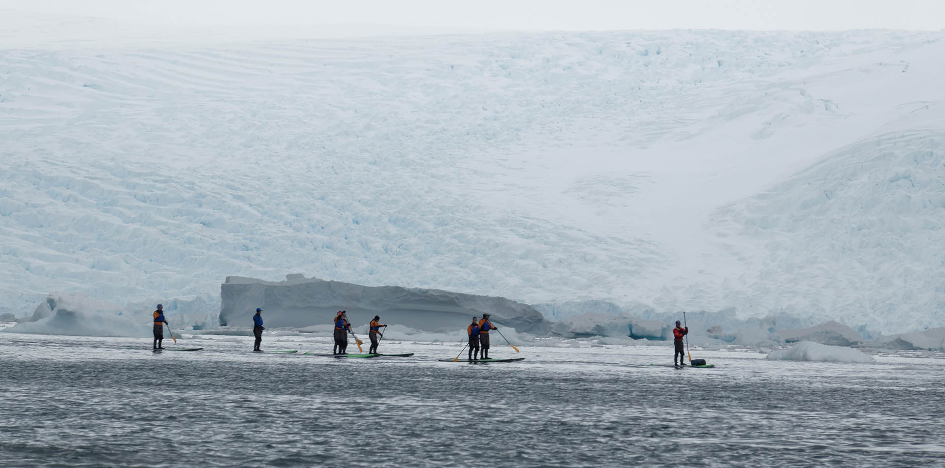 Winter paddling among glaciers