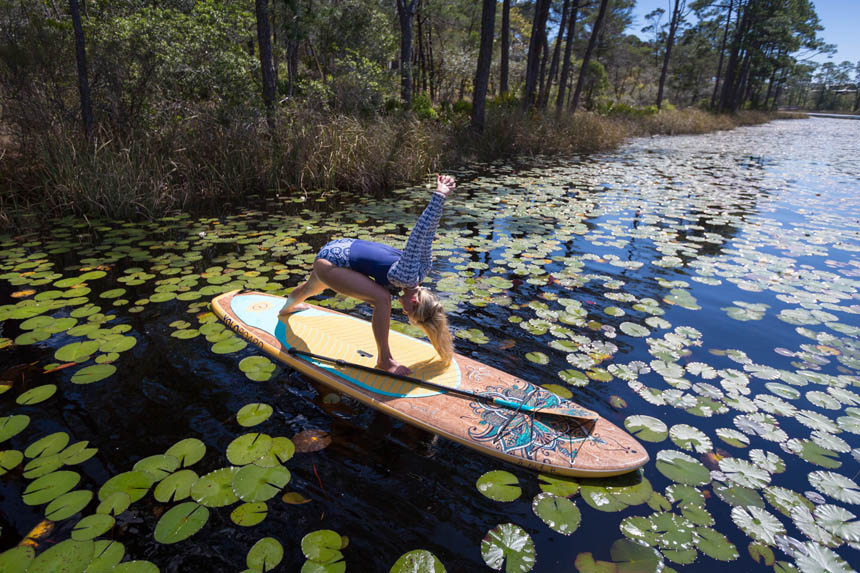 Yoga on stand up paddle board